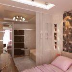 Дизайн спальни гостиной с полками