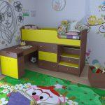 кровать чердак малыш орех желтый