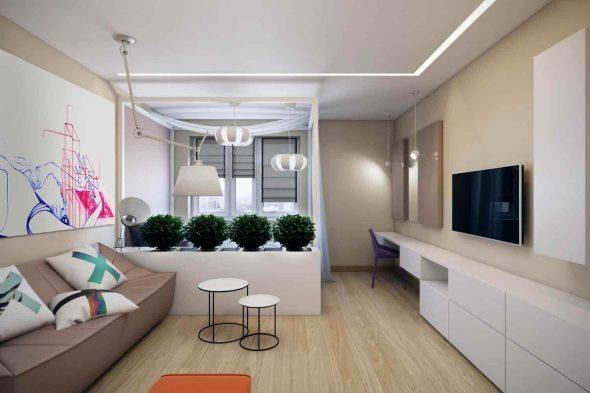 Новый дизайн гостиной спальни
