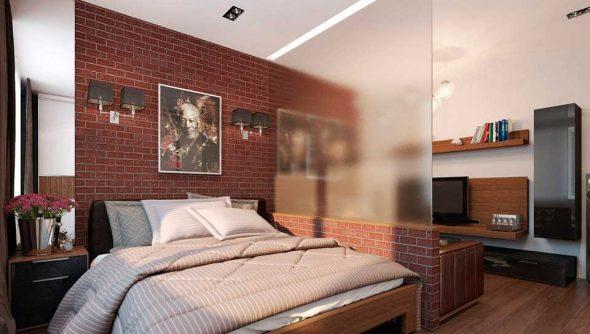 Разделение гостиной и спальни с помощью перегородки