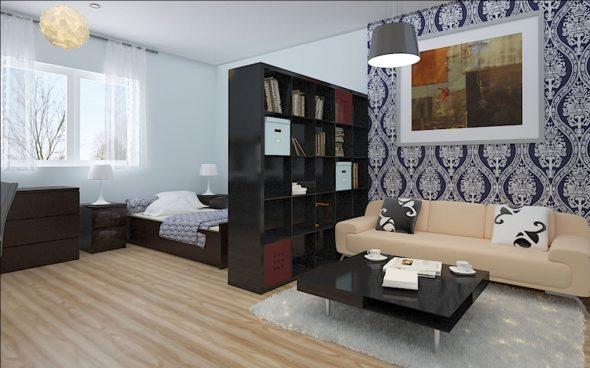 Разделение спальни на зоны цветом обоев