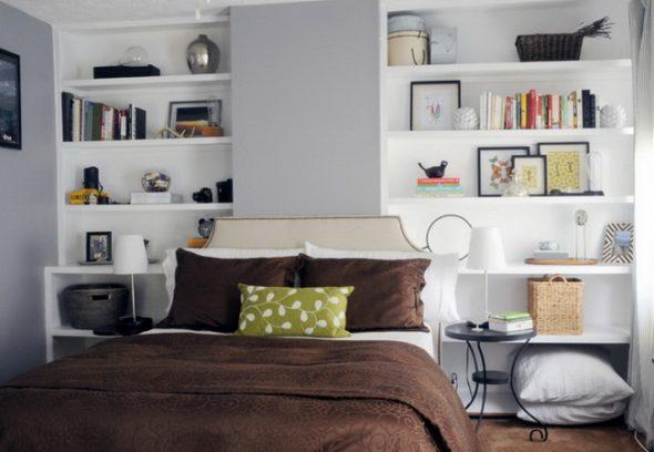 Белые полки для спальни
