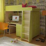 детская кровать стол фисташкового цвета