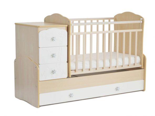 детская кроватка маятник с комодом