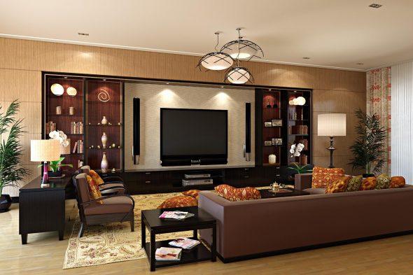 дизайнерская мебель из дерева в гостиной