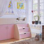 розовая кроватка для девочки с бортиками
