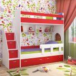 красно-белая двухъярусная кровать
