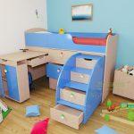 Двухъярусная кровать голубого цвета