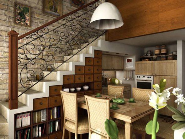 комбинированный гарнитур под лестницей