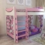 стильная двухуровневая кровать для девочек