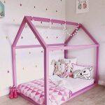 розовый домик кровать
