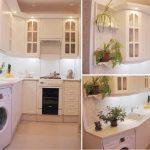 стиральная машина в угловой кухне