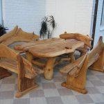 дизайнерская мебель стол и скамьи из дерева