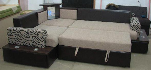 угловой диван-кровать олимп с подсветкой