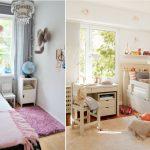 Декор и шторы в интерьере узкой детской комнаты