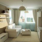 Интерьер узкой светлой комнаты
