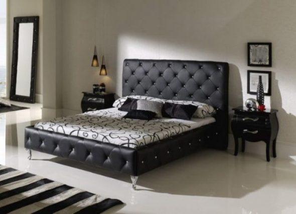 Кровать черная из экокожи