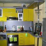 Кухонные гарнитуры для маленькой кухни желтого цвета