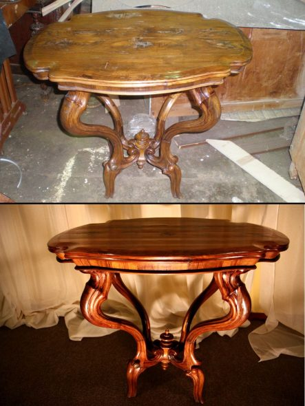 Лакированный стол до и после реставрации