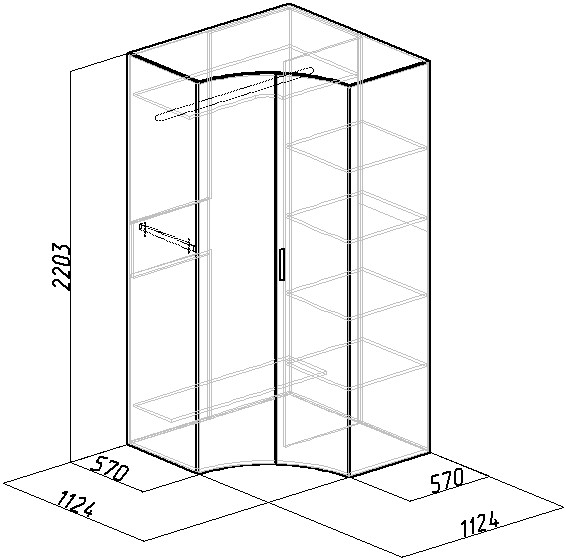 План углового шкафа