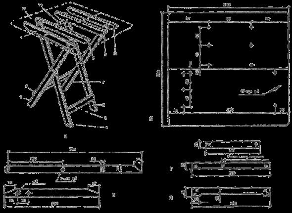 Схема складного стула из дерева