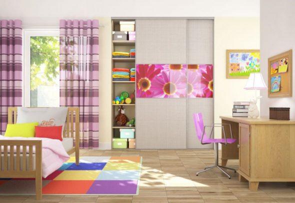 Шкаф-купе для большой детской комнаты