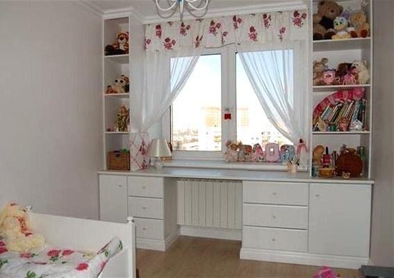 Шкаф вокруг окна в детской