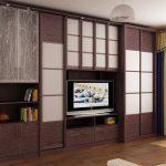Шкафы купе в гостиную с телевизором