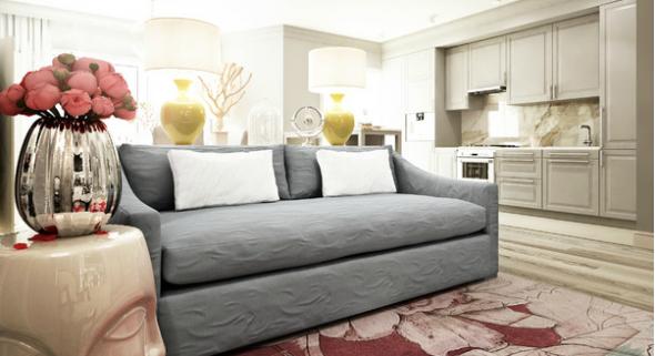 Светлый серый диван