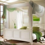 балдахин над кроватью бело зеленый