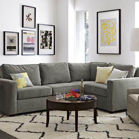бархатный серый диван