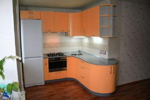 округлый угловой кухонный гарнитур