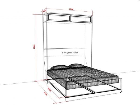Откидная кровать чертеж