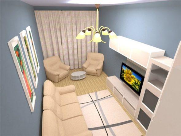 расставить мебель в очень узкой комнате