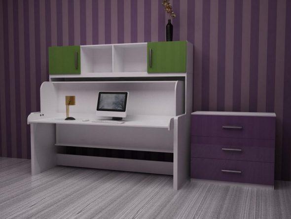 стол-кровать трансформер в дизайне комнаты