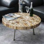 стол журнальный из срезов дерева