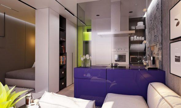 заряжающие энергией цвета в маленькой квартире с современной меблировкой