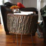 журнальный столик из среза дерева