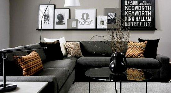 Черная мебель и цвет стен