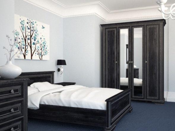 Черная мебель в интерьере спальни