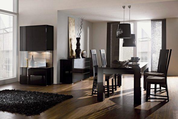 Черная мебель в столовой