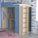 Детская кровать-чердак Бэмби-11 с рабочей зоной и шкафами