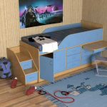 Детская кровать чердак с выдвижной столешницей