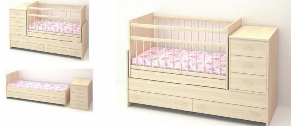 Детская кровать-трансформер в светлом цветы
