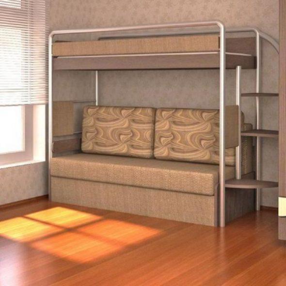 Диван с кроватью двухъярусные в светлых тонах