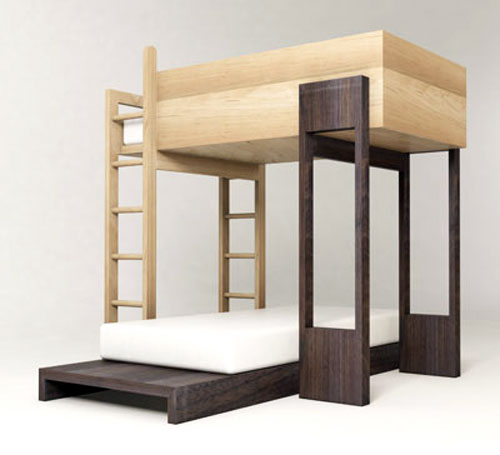 Двухъярусная кровать для взрослых в интерьере