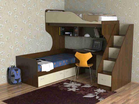 Двуспальная кровать-чердак