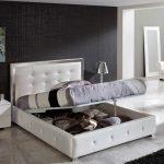 двуспальная кровать подъемная белая