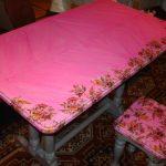 Реставрация старого кухонного стола своими руками в розовый цвет