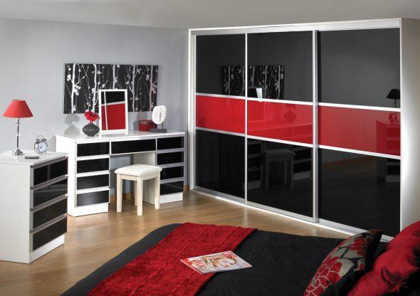 шкаф купе черно красный